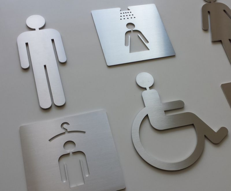 Pictogrammes inox signaletique hotels for Porte wc pmr